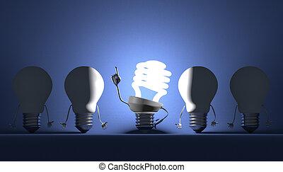 lumière, moment, perspicacité, divers, ampoules
