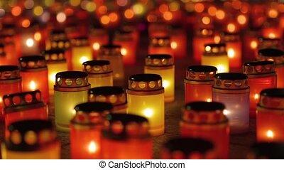 lumière, mourning., bougie, vigil., perte, symbolisme, masse