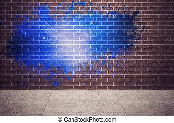 lumière, mur, éclaboussure, révéler, bleu