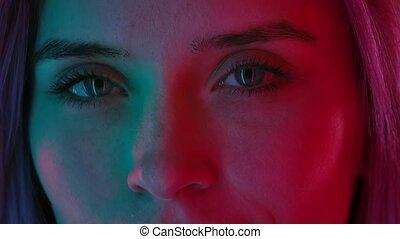 lumière naturelle, macro, portrait., éclairé, lent, fin, coloré, figure, womens, maquillage, regard, propre, ahead., motion., néon, directement, haut
