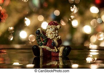 lumière, noël, fond, santa, fête