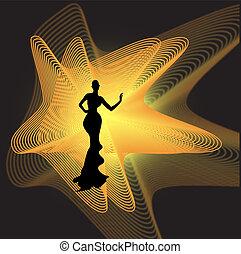 lumière, noir, silhouette, femme, sphère