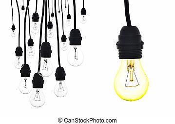 lumière, nombre, jaune, suivant, lampes, pendre, ampoule