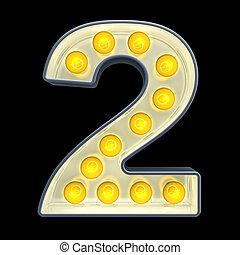 lumière, nombre, rendre, incandescent, retro, font., 2, ampoule, 3d