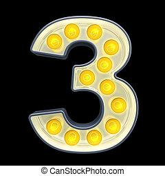 lumière, nombre, rendre, incandescent, retro, font., 3, ampoule, 3d
