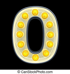 lumière, nombre, rendre, incandescent, retro, font., ampoule, 0, 3d