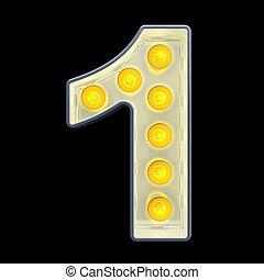 lumière, nombre, rendre, incandescent, retro, font., ampoule, 1, 3d