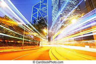 lumière, nuit, trafic, piste