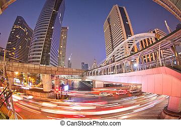 lumière, nuit, trafic, thaïlande
