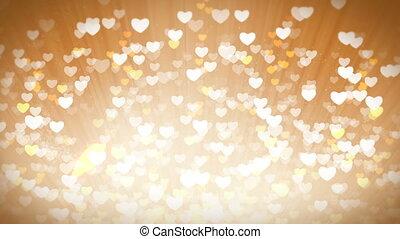 lumière or, valentines, arrière-plan., cœurs, brillant, jour