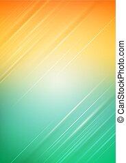 lumière orange, résumé, arrière-plan vert