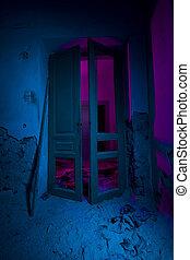 lumière, peint, abandonnés, intérieur