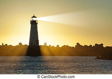 lumière, phare, coucher soleil, faisceau