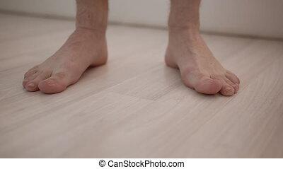 lumière, pieds, plancher, stands, homme, nu