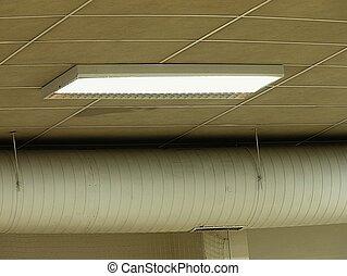 lumière plafond, rencontre, entrepôt, fluorescent, blanc