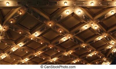 lumière, plafond, théâtre, clignotant