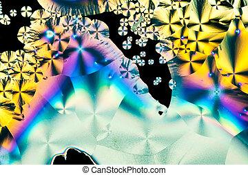 lumière, polarisé, acide, ascorbique, cristaux