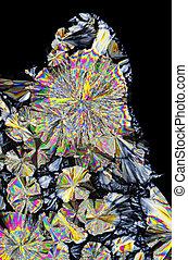 lumière polarisée, citrique, microscopique, cristaux, acide...