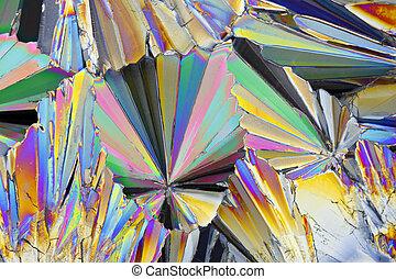 lumière polarisée, microscopique, saccharose, cristaux, vue