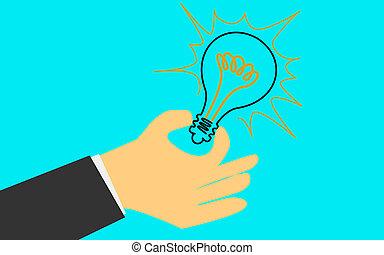 lumière, possession main, ampoule