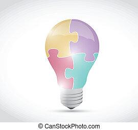 lumière, puzzle, conception, illustration, ampoule