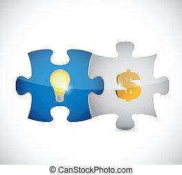 lumière, puzzle, dollar, illustration, morceaux, ampoule