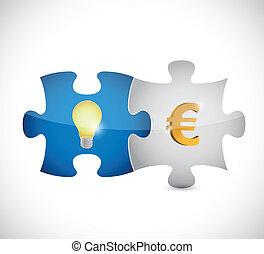 lumière, puzzle, illustration, morceaux, ampoule, euro