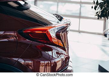 lumière, queue, moderne, closeup, voiture