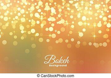 lumière, résumé, chatoiement, fond, doré