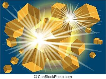 lumière, résumé, cubes, fond