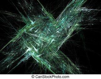 lumière, résumé, effet, arrière-plan vert, fractal