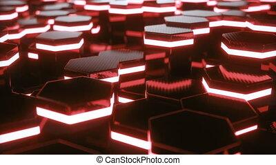 lumière, résumé, futuriste, surface, rendre, animation, rouges, modèle, 3d, hexagone, rays., 4k