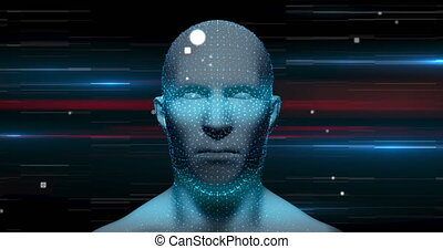 lumière, rotation, modèle, noir, contre, pistes, tête humaine, fond