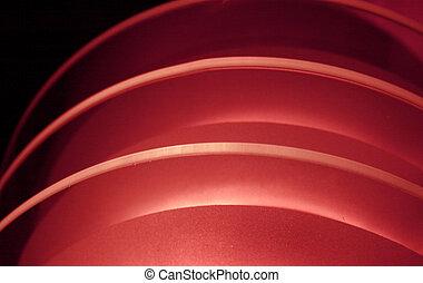 lumière, rouges, courbure