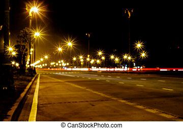 lumière, rue, route, nuit