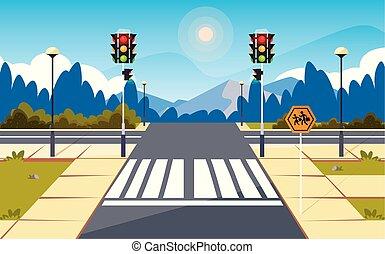 lumière, rue, trafic, scène, route