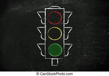 lumière, rue, vert