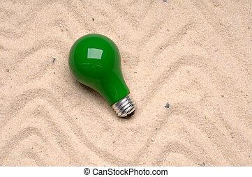 lumière, sable, lancé, vert, ampoule