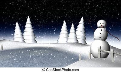 lumière, scène, hiver, neige