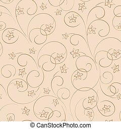 lumière, -, seamless, vecteur, arrière-plan beige, modèle, floral, fleurs