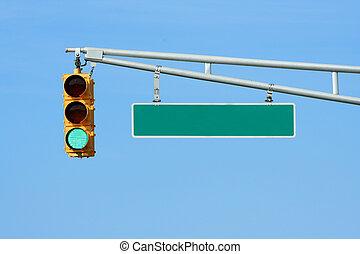 lumière, signal, trafic, vert, signe