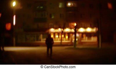 lumière, silhouette, fond, inconnu, offender., nuit, voleur, plunderer, brouillé, bandit, voleur, va, dehors, cambrioleur, lanterne, capuchon, homme