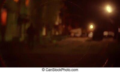 lumière, silhouette, fond, inconnu, offender., voleur, plunderer, brouillé, bandit, voleur, va, nuit, cambrioleur, homme, capuchon, lanterne
