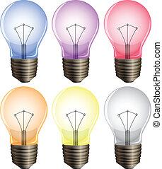lumière, six, ampoules