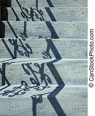 lumière soleil, grille, orné, étapes, ou, béton, pierre bleue, relfection