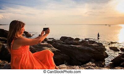 lumière soleil, mouvement, coucher soleil, iphone, mer, ...