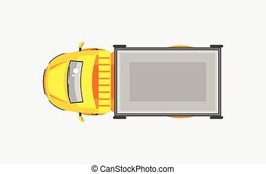 lumière, sommet, camion, caravane, vue