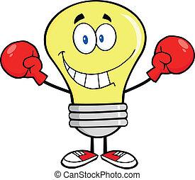 lumière, sourire, boxeur, ampoule