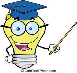 lumière, sourire, prof, ampoule