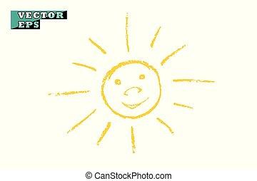 lumière, sourires, briller, objet, arrière-plan., vecteur, joy., jaune, isolé, soleil, drawing., enfants